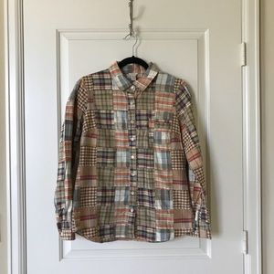 J.crew multi color plaid shirt, size 6